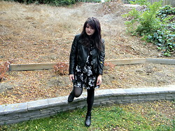 Allysa Stone - H&M Biker Jacket, Forever 21 Floral Dress, H&M Black Boots - The nights