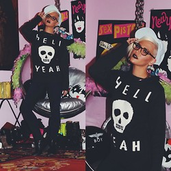 Samii Ryan - Glamour Kills Sweater, Wildfox Couture Jeans, Asos Hats, Firmoo Glasses - Hell Yeah
