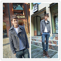 Charles Grey - Wholesale7 Europe Inclined Zipper Turn Collar Fitted Men Wool Jackets, Wholesale7 Jeans -  Wool Jackets