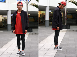 Dan Pantoja - I Love Ugly Red Saddle 5 Panel, I Love Ugly Black Formal Shirt, I Love Ugly Red Pocket Tee, Thrifted Leather Pants, Vans Old Skool - KNY WST Δ