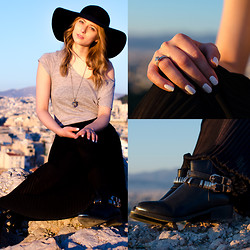 Lydia K - Topshop Hat, Alexander Mcqueen Necklace, Zara Shirt, Zara Skirt, Vintage Ring, American Apparel Nail Polish, Migato Boots - Sightseeing in Athens