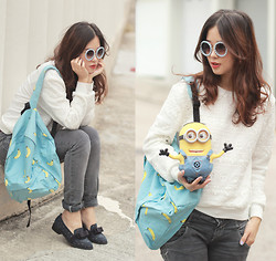 Mayo Wo - Romwe Embellished Sunnies, Chic Wish Crochet Sweater, Asianicandy Banana Backpack, Randa Bow Loafers - Papoy