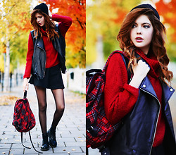 Ebba Zingmark - Bellevior Vest, Rodebjer Knitt, Rocket Dog Backpack, Dr. Martens Dr, Motel Rocks Skater Skirt - Dressed for fall