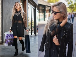 Eugénie Grey - Stylestalker Shirtdress, Zara Necklace, Breckelle's Bronco Boot, Quay Fleur, Chic Wish Quilted Moto - Heads will roll