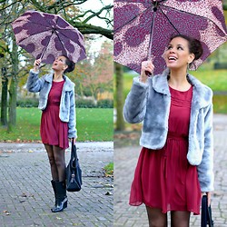 Tamara Chloe - Primark Dress, Supertrash Rain Boots, Mango Umbrella - These Wedgy Rain Boots