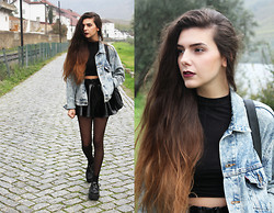 CLAUDIA Holynights - Asos Turtle Neck Long Sleeve Top, Asos Pvc Skater Skirt, Levi's® Vintage Acid Wash Denim Jacket, Styleground Creepers - Shake the dreams from your hair