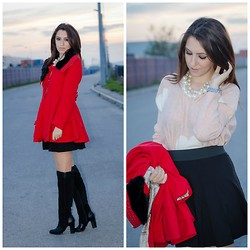Andreea Manole - Tbdress Coat, Choies Necklace, Armani Exchange Sweater, Stradivarius Skirt, Bershka Boots - Candy girl