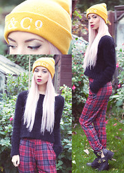 Leanne Lim-Walker - P&Co Embroidered Beanie Mustard, Topshop Knitted Fluffy Crop Jumper, Loveclothing Tartan Trousers, Jeffrey Campbell Coltrane With Gold Buckles - We are the reckless, We are the wild youth