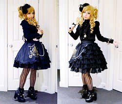 Lovely Blasphemy - Angelic Pretty Classical Champagne Skirt, Liz Lisa Shoes, Angelic Pretty Misty Sky Ankle Socks, Black Peace Now Blouse, Gothic Lolita Wigs Long Curly   Milk Tea, 6%Dokidoki Star Clip, Bodyline Necklace - Classical Champagne