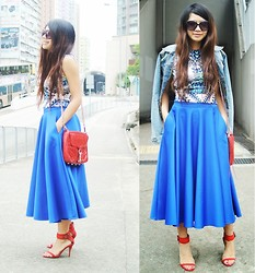 Janice G - Asos Full Skirt, Asos Dress Wore As Top, Rebecca Minkoff Mac Clutch - Shades of blue