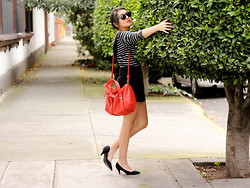 Jennifer Aranda - Zara Stripes, Forever 21 Black Overalls, Zara Red Hand Bag - Baby babe