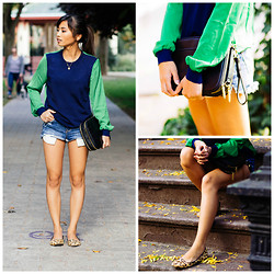 Love Yna - 3.1 Phillip Lim Pullover Sweater, 3.1 Phillip Lim Travel Bag, Aldo Leopard Loafers, Zara Denim Midi - Navy Meets Emerald Chiffon