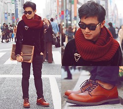 KIKO CAGAYAT - Céline Envelope Clutch, Versace Wayfarer, Schlussel Black Velvet Long Sleeves, Uniqlo Pants, Naval Burgundy Lace Shoes, H&M Burgundy Color Muffler, Guess? Vintage Watch - Close your eyes and feel my heart