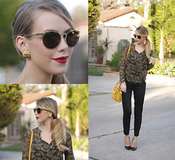 Kier Mellour - Chanel Earrings, Zara Camo Shirt - CHANEL & Camo