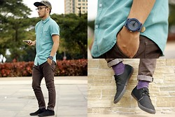 Stephen Garcia - Topman Button Down Shirt, Topman Socks, Oxygen Camouflage Cap, Cotton On Denim Watch - Black Mint