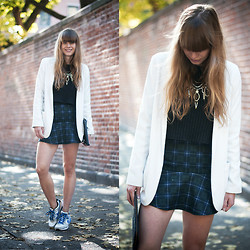 Lisa Dengler - Missguided Tartan Skirt, Monki Cropped Sweater, Ily Couture Statement Necklace, Topshop Blazer - NOLITA