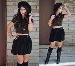 Corinne Alexandra - Forever 21 Black Fedora, Urban Outfitters Crop Tee, Forever 21 Black Skater Skirt, Thrifted Black Cowboy Boots - Boots On the Cold Concrete