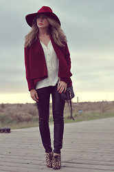 Stefani T. - Alice Olivia Silk Blouse - Burgundy fall: coated jeans and leopard booties