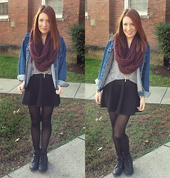 Meg Davis - H&M Infinity Scarf, Levi's® Denim Jacket, Forever 21 Skirt, Lulu's Booties - Truth hurts, But lies are worse