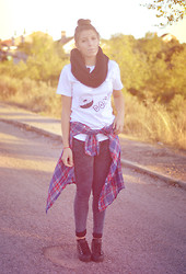 Nat @unmatchafrappe - Diy, H&M Scarf, Zara Tartan Shirt, Primark Jeans, Double Sole Shoes - Donut worry