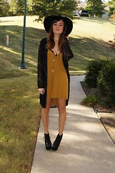 Niki Adams - Free People Hat, Mason's Boutique Kimono, Rvca Dress, Jeffrey Campbell Shoes - Mustard.