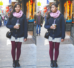 Allyson M - H&M Cross Body Bag, Macy's Colored Tights, Easy Pickins' Combat Booties - Chinatown Bustle