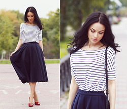 Sonya Karamazova - Asos Skirt, Jimmy Choo Heels, Reserved Top - Navy