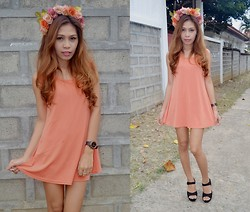 Monelyn B. - Diy Floral Headband, Https://Www.Facebook.Com/Monicasclosetonline Peplum Dress, Unisilver Watch, Pretty Finds Wedge - Tangerine