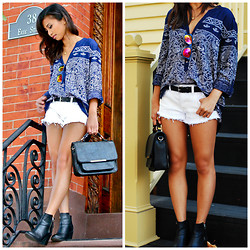 Love Yna - H&M Patterned Blouse, Ae Sequined Shorts, H&M Leather Ankle Boots, Aldo Gradient Sunnies - Laidback Rendezvous