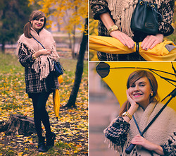 Anastasia K. - Darling Coat, Pices Scarf, Marc By Jacobs Bag, Michael Kors Watches, Blunt Umbrella, H&M Boots - Yellow autumn. :)