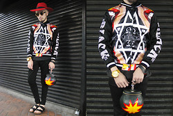 Andre Judd - The Urban Hour Supernatural Print Bomber Jacket, Wanchula Saramba Wool Felt Hat With Golden Arrow, Matte Gold Rimmed Frames, Wanchula Saramba/Rougerouge Bomb Bag, Birkenstock - SUPERNATURAL