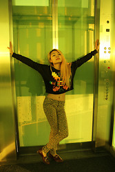 Allie Ng - Forever 21 Sweater, Divided Leopard Pants - Neon