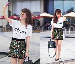 Linda Tran N - Céline T Shirt, Embellished Skirt, Suit Blanco Studded Bag - Bejeweled