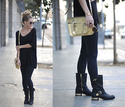 Kier Mellour - Cambridge Satchel Co. Bag, Vince Camuto Boots - Black // Gold