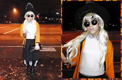 Joseff Lopez (Seffinisto) - Thrift Pumpkin Style Cardigan, J. Crew Cropped Cashmere Sweater, Joe Fresh Black Pleated Skirt (Man), Topshop Gray Asymmetrical Skirt (Layered), Calvin Klein Polka Dots Shirt (Underneath) - Hey, it's Amanda
