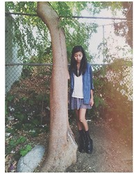 Louisa S. - Forever 21 Denim Bottom Down, American Eagle Skirt, Forever 21 White Sweater, Pacsun Boots - The lost girl