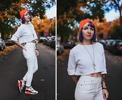 Jessie Bee - Thrift + Diy Cropped Sweater, Cheap Monday Second Skin High Rise Denim, Nike Air Max 90 Infrared, Diy Found Objects Necklace, Uniqlo Beanie - Whites