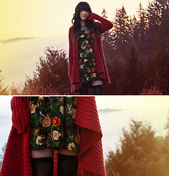 Ashlei Louise . - Romwe Floral Dress, Free People Rust Cardigan - Peace time over-throw