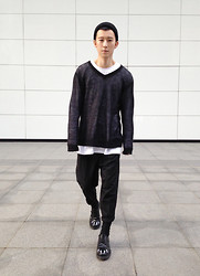 YU WEILO - Triple Major Black Leather Shoes - LONG LONG SLEEVE
