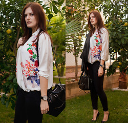 Viktoriya Sener - Persun V Neck Retro Printed Chiffon Shirt - LEMON TREE