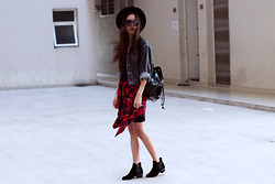 Vu Thien - Thrift Store Dress, Thrift Store Denim Jacket, Forever 21 Shirt, Backpack, Wholesale7.Net Boots, Floralpunk Necklace, Local Store Sunglasses - RED PLAID