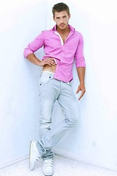 Eric M - Faded Glory Pink Button Up, Levi's® Bleached Slim Fit Jeans - Real Men Wear Pink (?)