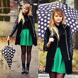 Marzena K. - No Name Leather Jacket, Chicnova Green Skirt, Ccc Black Leather Boots - Rainy day
