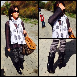 Iza Fugen - H&M Skull Scarf, Coach Eyewear, H&M Geometric Leggings, H&M Leather Jacket, Louis Vuitton Purse, H&M Top, Aldo Boots - No boring
