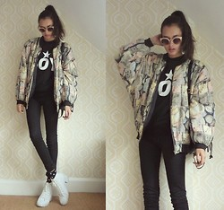 Gizele Oliveira - Choies Sweater, H&M Pants, Topshop Shoes, Forever 21 Socks - Vintage bomber jacket