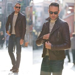 Brian Sacawa - Asos Shoes, Persol Sunglasses, All Saints Leather Jacket, Saint James Sweater, A.P.C. Jeans - Serendipity