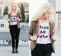 Brittany Leland - Minkpink Cute As F#%K T Shirt, Rag & Bone Black Jeans, Jeffrey Cambell Ankle Boots - CUTE AS F#%K