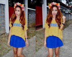 Monelyn B. - Diy Floral Headband, Monicas Closet Top, Monicas Closet Skort - Wall Flower