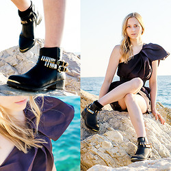 Lydia K - Migato Boots, Lanvin Dress - By the Sea in Greece