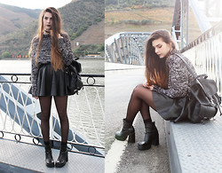 CLAUDIA Holynights - Zara Jumper, Zara Leather Skirt, Vintage Chunky Boots - All bad poetry springs from genuine feeling.